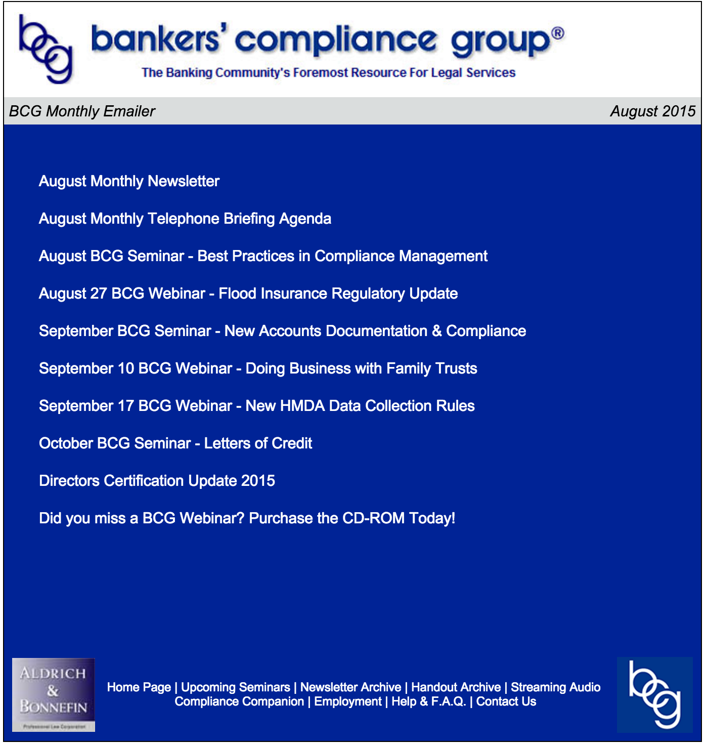 August 2015 Bankers Compliance Group Monthly Mailer