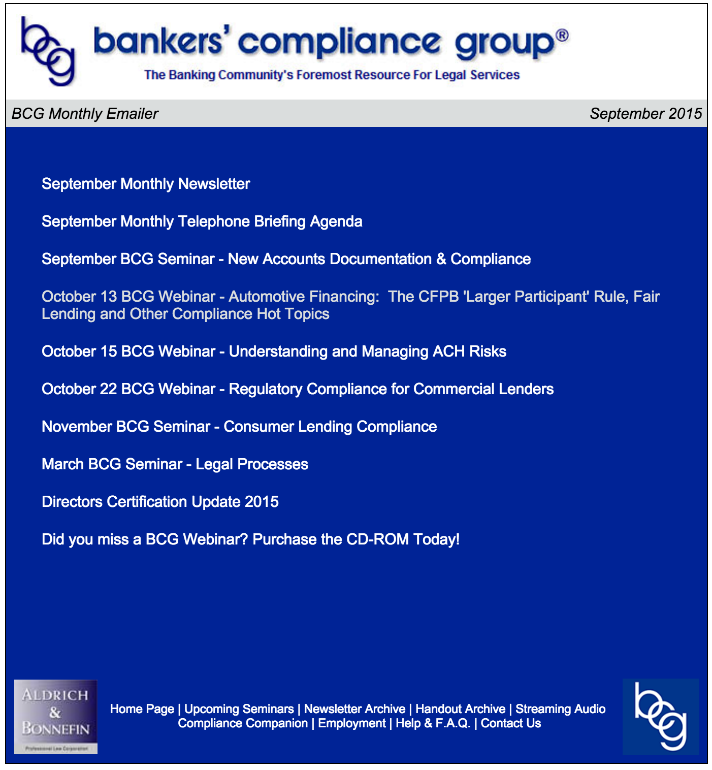 September 2015 Bankers Compliance Group Monthly Mailer